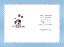 Anniversary Open Card - Cute Dogs Holding A Cocktail