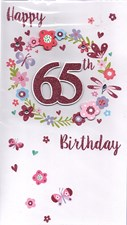 Birthday Age 65th Large Card - Butterflies & Flowers
