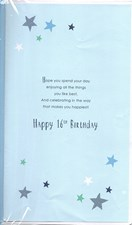 Birthday Age 16th Large Card - Silver Stars