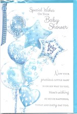 Baby Shower Baby Boy Card - Blue Bouquet Of Balloons