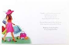 Birthday Daughter Card - Woman Carrying Shopping Bags