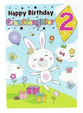 Birthday Age 2 Granddaughter Card - Cute Rabbit Flying A Kite!