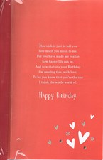 Birthday One I Love Card - Red & Silver Hearts