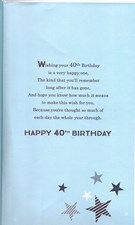 Birthday Age 40th Large Card - Silver Stars