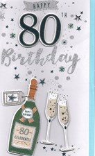 Birthday Age 80 Large Card - Champagne & Glasses