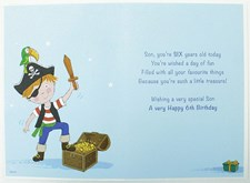 Birthday 6th Son's Card - A Pirate And His Treasure Chest!