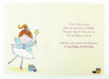 Birthday 3rd Granddaughter Card - Featuring An Illustration Of A Fairy!
