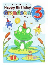 Birthday Age 3 Grandson Card - With A Frog Wearing A Party Hat!