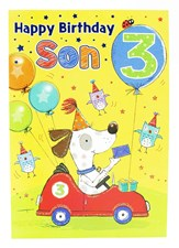 Birthday 3rd Son's Card - With A Dog Driving A Race car!