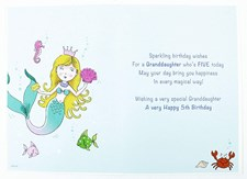 Birthday Granddaughter 5th Card - With Mermaid and Sea Creatures
