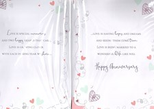 Anniversary Wife Card - Multicoloured Hearts