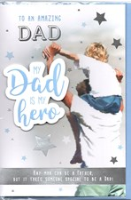 Fathers Day My Dad Is A Hero Card - Father & Son