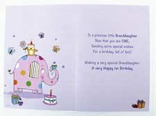 Birthday Age 1 Granddaughter Card - Polka Dot Elephant Holding A Balloon!