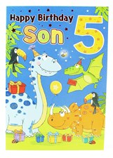 Birthday 5th Son's Card - Featuring A Cute Illustration Of Dinosaurs!