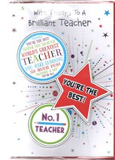 Thank you Teacher Card - Multicoloured Stars