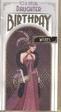 Birthday Daughter Card - Art Deco Woman 20's Style Purple Dress
