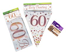 Age 60 Birthday Decoration Kit - Bunting, Banner & Confetti Pack