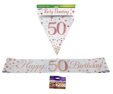 Age 50 Birthday Decoration Kit - Bunting, Banner & Confetti Pack