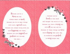 Mother's Day Card - Pink And Black Pattern Butterflies