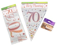 Age 70 Birthday Decoration Kit - Bunting, Banner & Confetti Pack