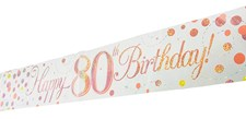 Age 80 Birthday Decoration Kit - Bunting, Banner & Confetti Pack