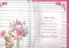 Mother's Day Card - Cute Bear Next To A Vase Of Flowers