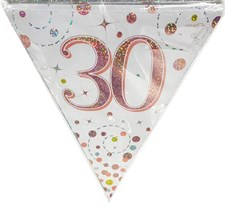 Age 30 Birthday Decoration Kit - Bunting, Banner & Confetti Pack