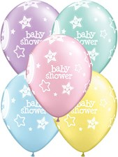 Qualatex Party Baby Shower Moon and Stars Design Latex Balloons - Pack of 5