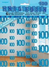 Blue Glitz Age One Hundred Birthday Hanging Decoration - Pack of 6 Strings