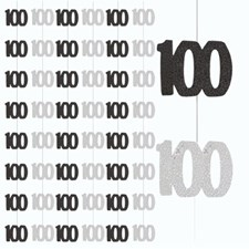 Black Glitz Age One Hundred Birthday Hanging Decoration Pack of 6 Strings