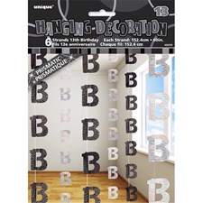 Black Glitz 13th Birthday Hanging Decoration Pack of 6 Strings