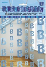 Blue Glitz 13th Birthday Hanging Decoration - Pack of 6 Strings