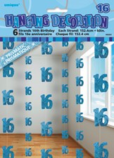 Blue Glitz 16th Birthday Hanging Decoration - Pack of 6 Strings