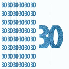 Blue Glitz 30th Birthday Hanging Decoration - Pack of 6 Strings