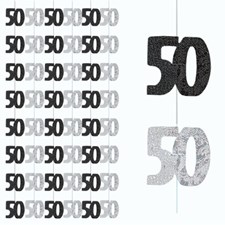 Black Glitz 50th Birthday Hanging Decoration - Pack of 6 Strings
