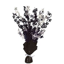 Black Glitz 70th Balloon Weight Centrepiece