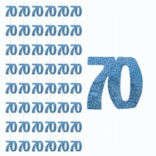 Blue Glitz 70th Birthday Hanging Decoration - Pack of 6 Strings