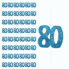 Blue Glitz 80th Birthday Hanging Decoration - Pack of 6 Strings
