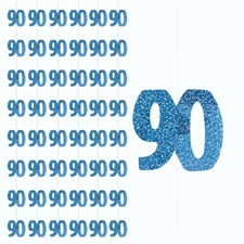 Blue Glitz 90th Birthday Hanging Decoration - Pack of 6 Strings