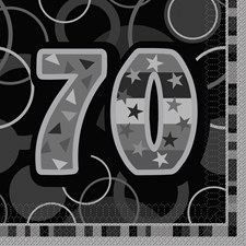 Black Glitz Age 70  Napkins - Pack of 16