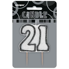 Black Glitz Theme Number Candle – Number 21
