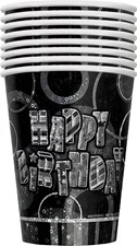 Black Glitz Happy Birthday Paper Cups - Pack of 24