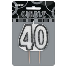 Black Glitz Theme Number Candle – Number 40