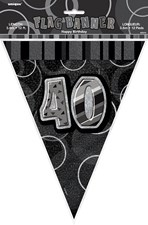 Birthday Black Glitz 40th Bunting – 12 Ft / 3.65m