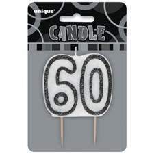 Black Glitz Theme Number Candle – Number 60