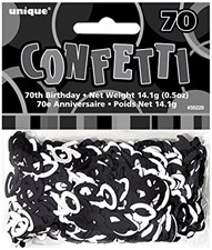 Black Glitz 70th Birthday Table Confetti