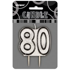 Black Glitz Theme Number Candle – Number 80