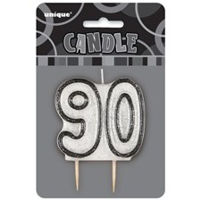 Black Glitz Theme Number Candle – Number 90