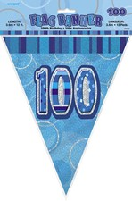 Birthday Blue Glitz Age One Hundred Bunting – 12 Ft / 3.65m