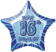 Birthday Blue Glitz 16th Birthday Star Shape Foil Balloon